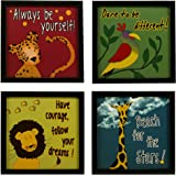 Indianara Synthetic Wood Motivational Framed Wall Art Prints for Kid's Study Room (Multicolour, 8.7x8.7 Inches, 1034) - Set of 4 Pieces