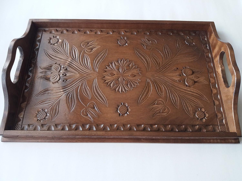 Nueva marrón grande madera hermosa de arce natural mano tallada bandeja, bandeja, plato decorativo, decoración casera, plato de servir, bandeja única, regalo para la mujer, las niñas