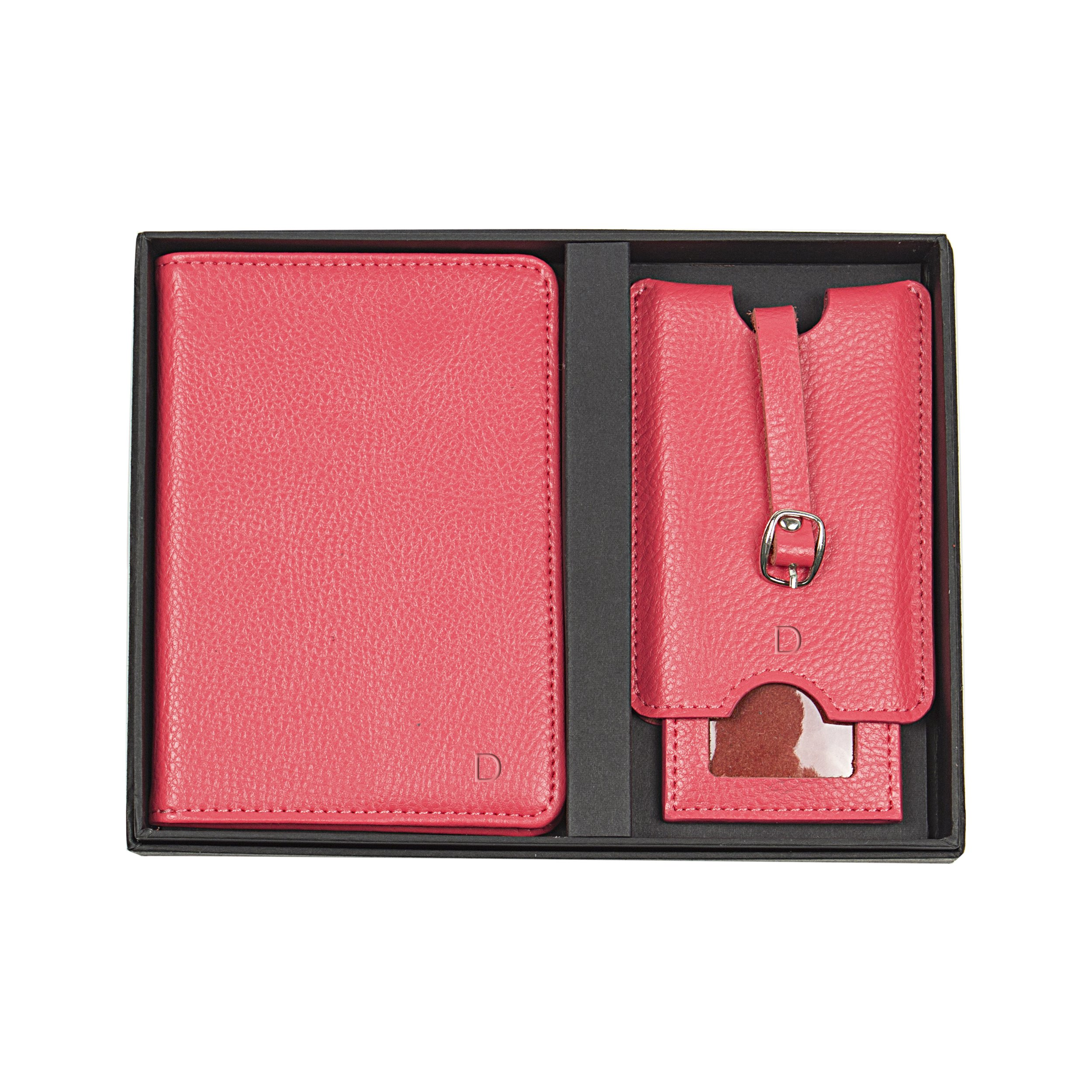 Cathy's Concepts Personalized Leather Passport Holder & Luggage Tag Set, Pink, Letter D