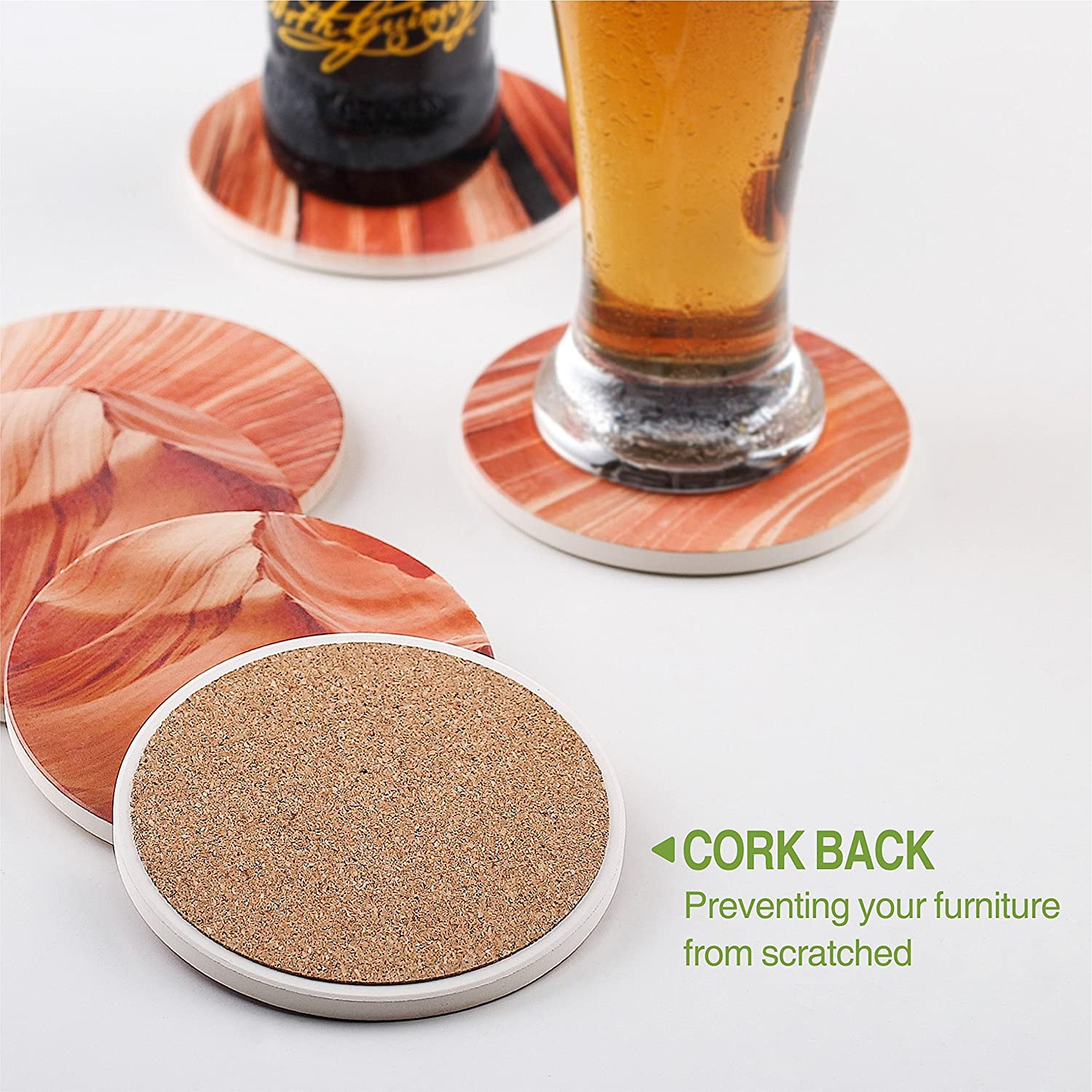 Natural Stone Coasters Set with Varying Patterns Multicolor DOWAN 6-Piece Absorbent Stone Coasters for Drink