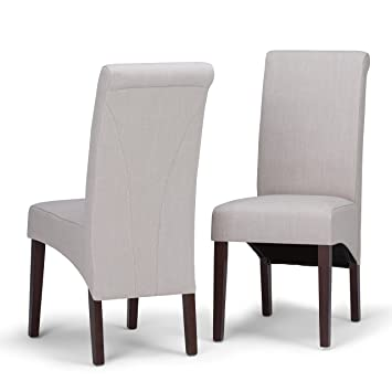 Wondrous Simpli Home Ws5134 Nl Avalon Contemporary Deluxe Parson Dining Chair Set Of 2 In Natural Linen Look Fabric Ncnpc Chair Design For Home Ncnpcorg