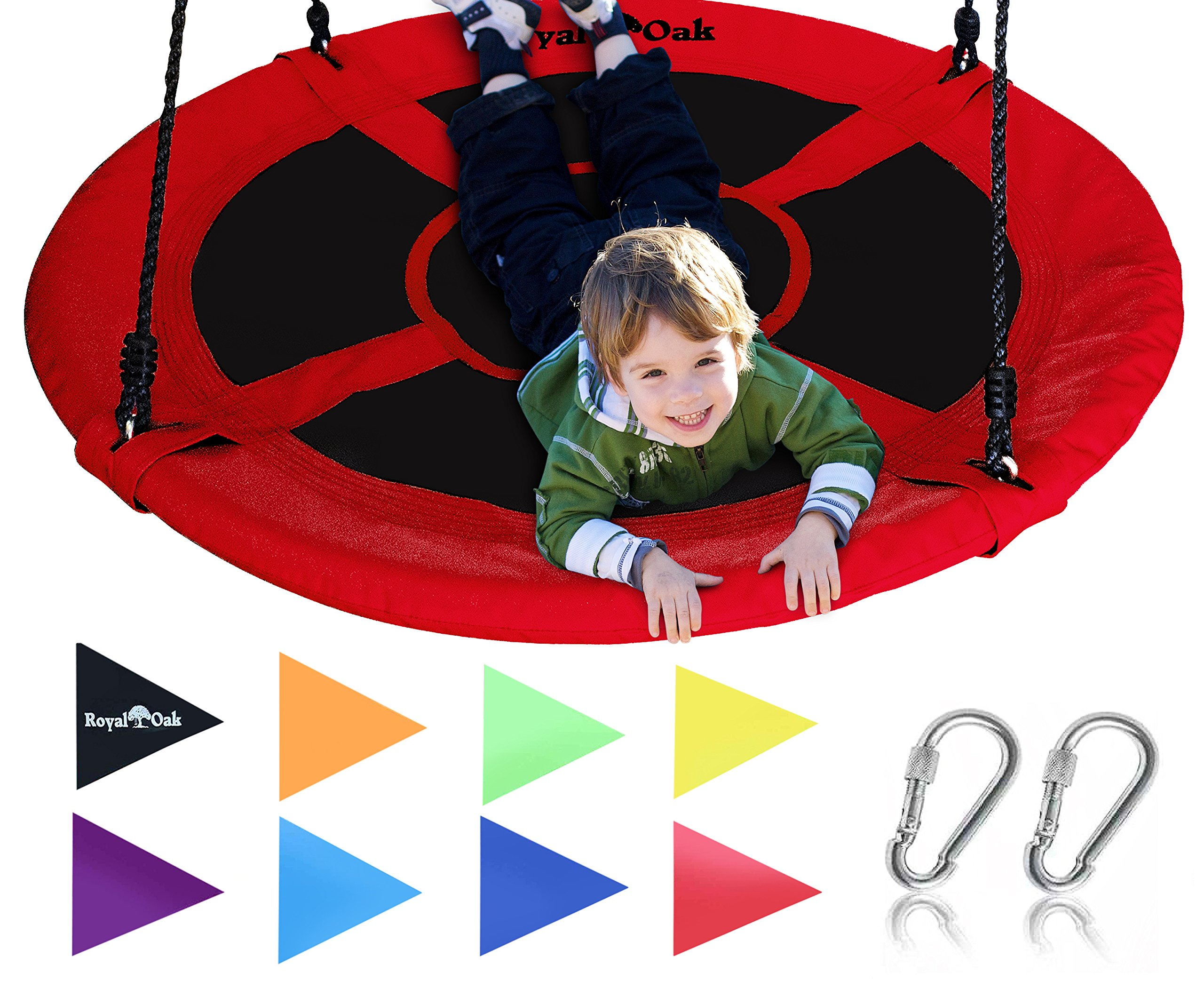 Giant 40'' Saucer Tree Swing in Elite Red - 400 lb Weight Capacity - Durable Steel Frame, Waterproof - Adjustable Ropes - Easy to Install - Bonus Flag Set and 2 Carabiners - Non-Stop Fun for Kids!