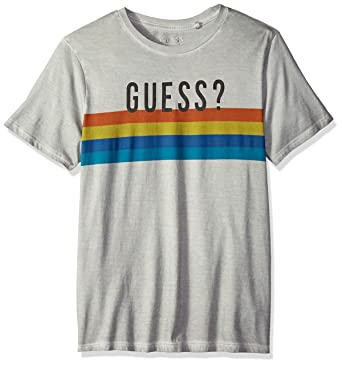 3af1795708 GUESS Men's Short Sleeve Basic Multi Stripe Crew T-Shirt, Ocean Grey, ...