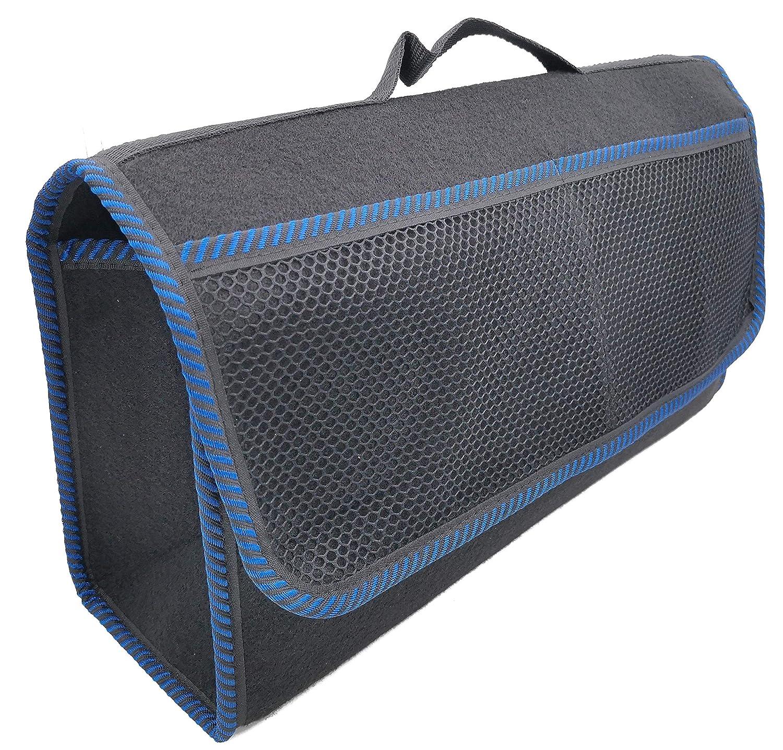 TK-2124 Kofferraumtasche Groß Schwarz Filz Werkzeugtasche mit Klett 25, 5 x 48 x 15, 5 cm haftet an Kofferraumverkleidung & Boden (Rand Blau) TK-eshop