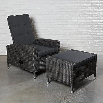 2x Polyrattan Hochlehner Mit Verstellbarer Rückenlehne Und Hocker  Gartensessel Loungesessel Relaxsessel Positiosstuhl Sessel Rattan Stuhl  Gartenstühle