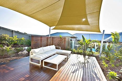 JOYARDS Toldo Vela de Sombra Rectangular 3x4 Metros Transpirable Color Arena | Se instala fácil en Fachada Exterior, Terraza, Jardín, Pérgola, Patio o ...
