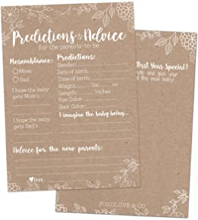 30 Rustic Baby Shower Prediction And Advice Cards