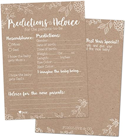 Amazon 50 Rustic Baby Prediction And Advice Cards Baby Shower