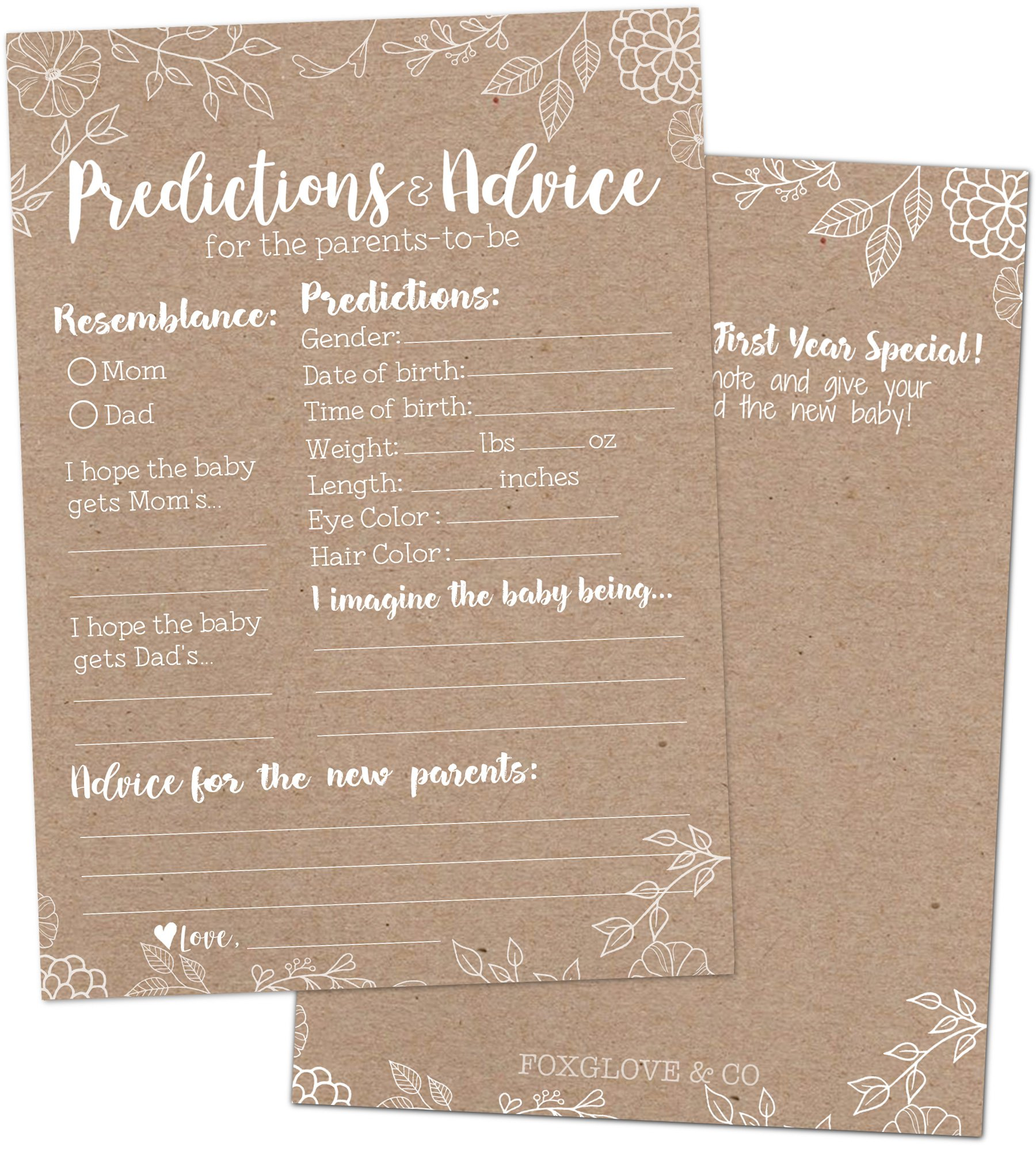 50 Rustic Baby Shower Prediction and Advice Cards - Baby Shower Games for Gender Neutral, Girls or Boys Party - Advice Cards for Baby Shower, Best Wishes for New Parents, Mom & Dad, Mommy & Daddy