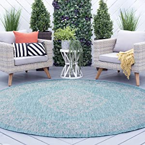 Tayse Devie Cream Outdoor 8 Foot Round Area Rug for Living, Bedroom, or Dining Room - Medallion