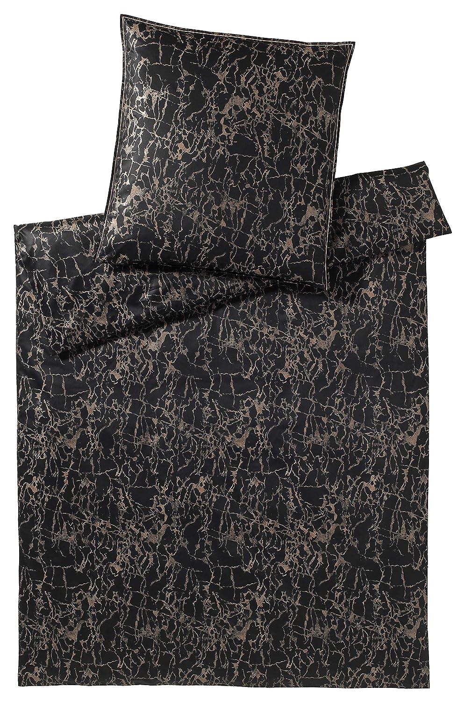 Elegante Mako Satin Bettwäsche Lava 2231-009-135x200-40x80 Schwarz