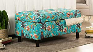 Jennifer Taylor Home Naomi Collection Bohemian Style Cotton Upholstered Hand Tufted Storage Accent Entryway Bench With Floral Bird Print, Turquoise