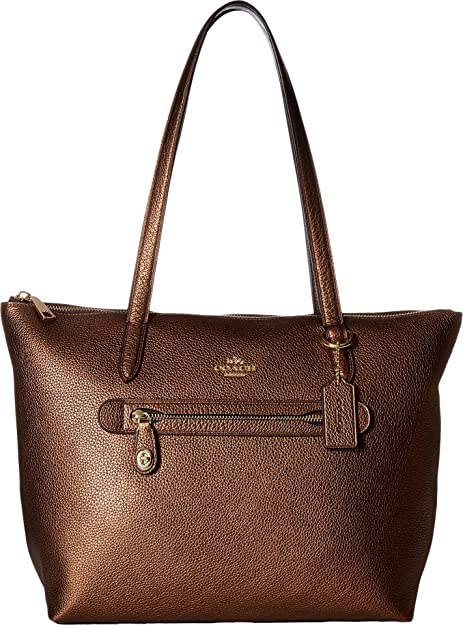 a881b38aa50 COACH Women s Taylor Tote in Metallic Leather Li Bronze One Size ...