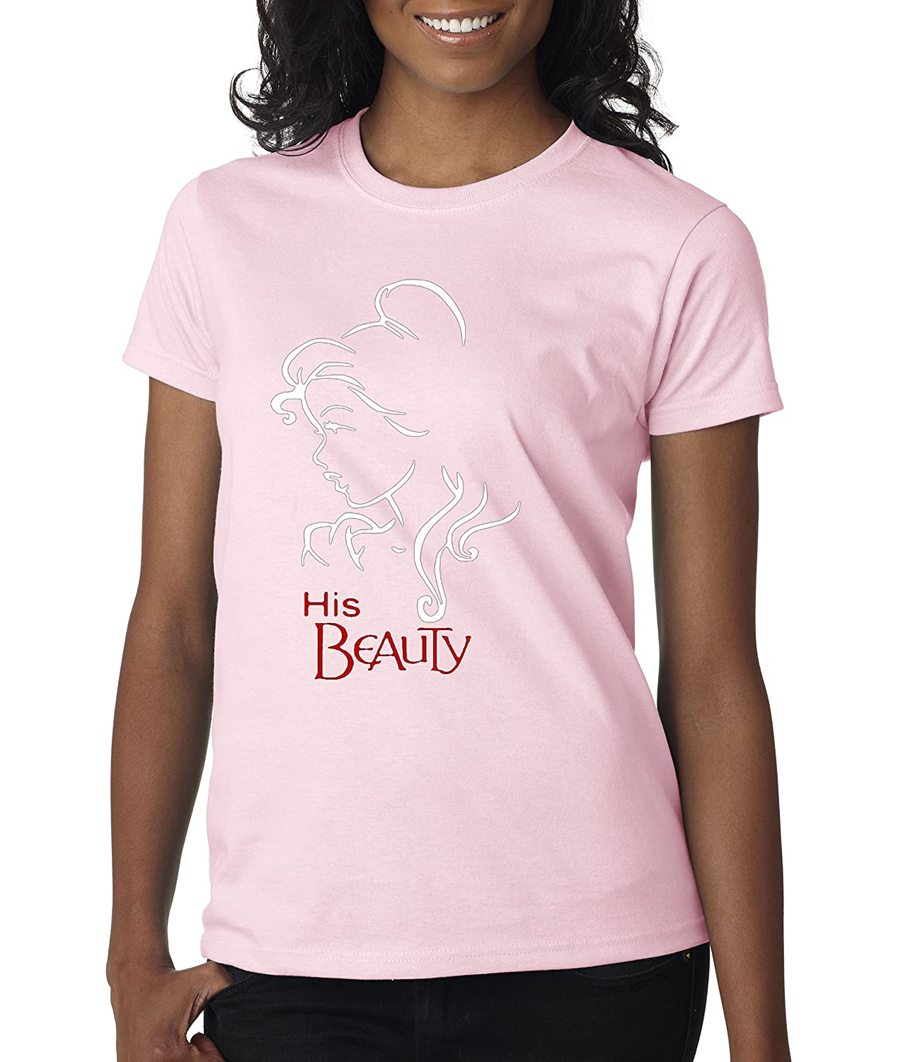 Light Pink Trendy USA 641  Women's TShirt Beauty Couples Belle and The Beast