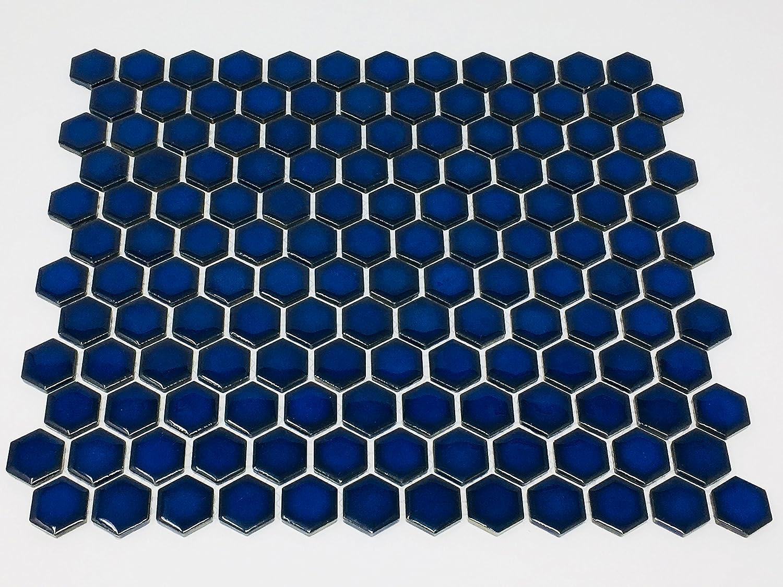 - Hexagon Cobalt Blue Porcelain Mosaic Tile Glossy Look 1'' Inch
