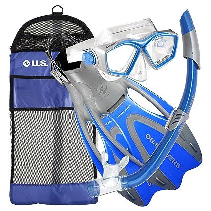 8f7106b2391 U.S. Divers Adult Icon Mask Seabreeze Snorkel Proflex Open Heel Fins Gearbag