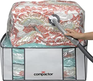"""Compactor Space Saver Vacuum Storage Solution Vacuum Bag to Protect Clothes, Pillows, Duvets, Comforters, Blankets (XXL (26""""x20""""x11""""), Classic White)"""