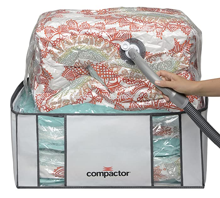"Compactor Space Saver Vacuum Storage Solution Vacuum Bag to Protect Clothes, Pillows, Duvets, Comforters, Blankets (XXL (26""x20""x11""), Classic White)"