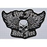 Live Free Ride Free Skull gamuza de bordado iron on patch