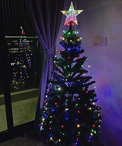 Christmas Tree Lights, TAMOYO Christmas Lights, LED Light Show for The Christmas Tree, 250 LED Lights Suitable for 3.9-9.8FT Christmas Tree (8 LED Light Strands, Crystal Star Tree Topper, Adapter)