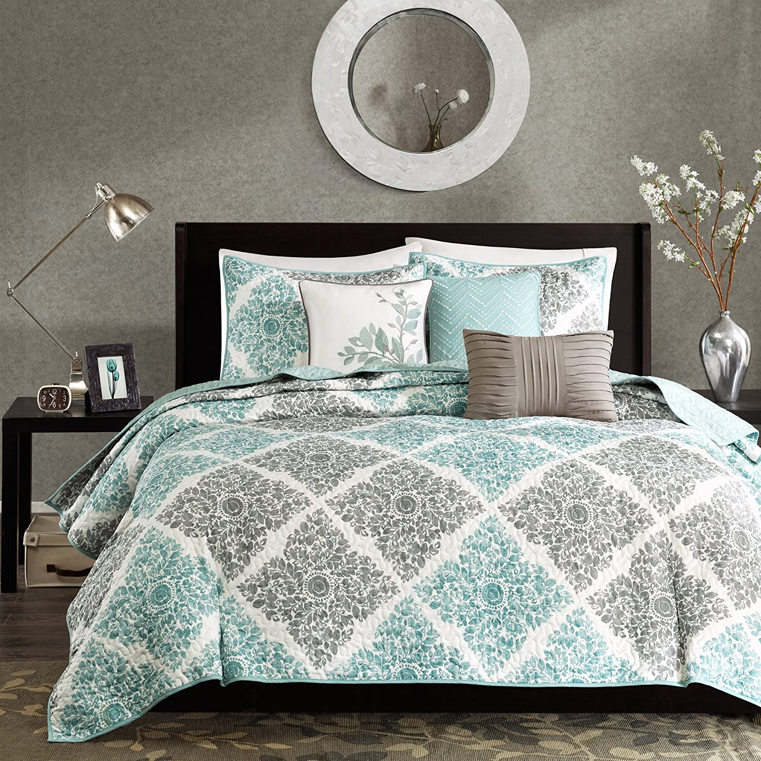Madison Park Claire King/Cal King Size Quilt Bedding Set - Aqua, Grey, Leaf Geometric – 6 Piece Bedding Quilt Coverlets – Ultra Soft Microfiber Bed Quilts