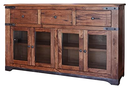 Rustic Jacob 70u0026quot; Console TV Stand Buffet Real Solid Wood Western Style