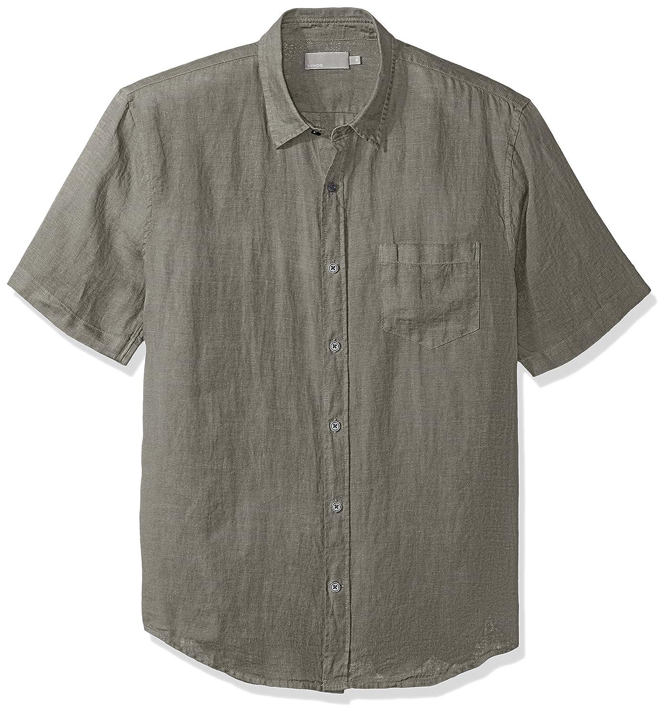 Vince Mens Linen Short Sleeve Button Up