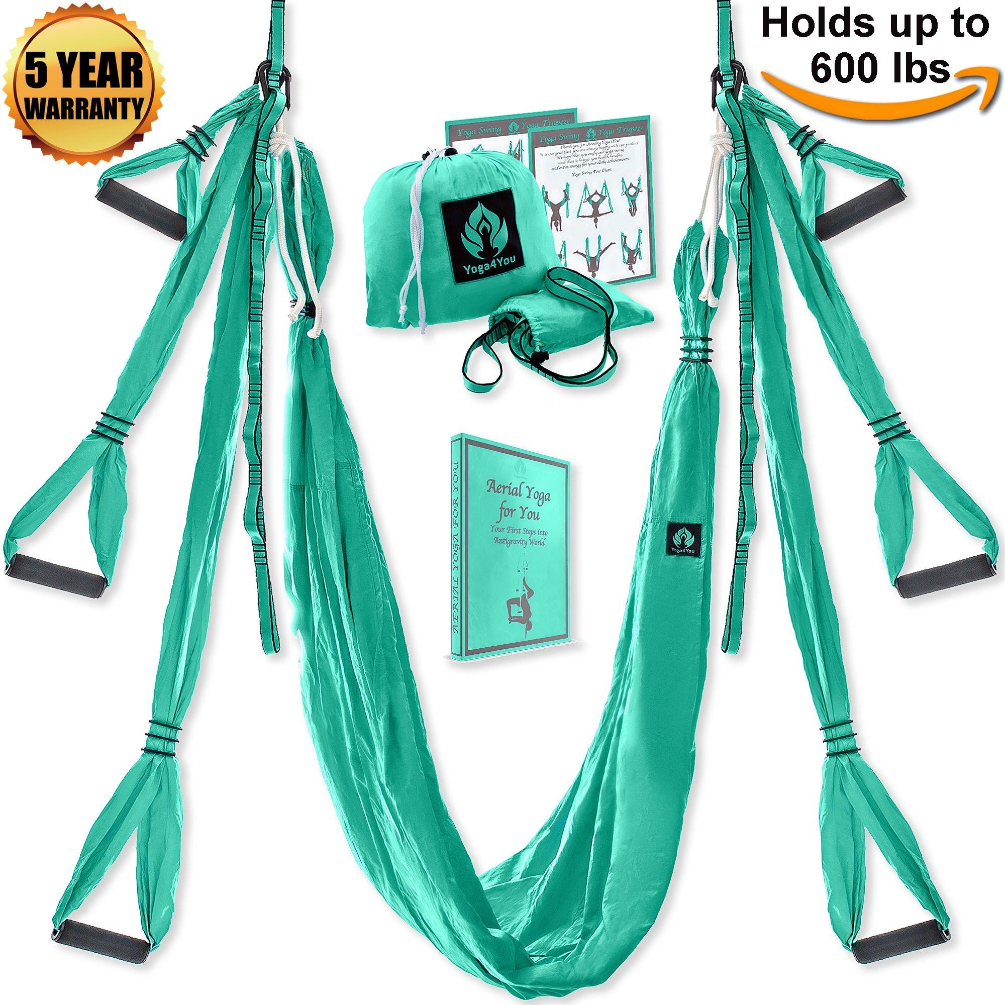 Aerial Yoga Swing Set - Yoga Hammock - Aerial Trapeze Kit + 2 Extension Straps & eBook - Large Flying Yoga Inversion Tool - Anti-Gravity Hanging Yoga Sling - Indoor Outdoor Fly Yoga - Men Women Kids