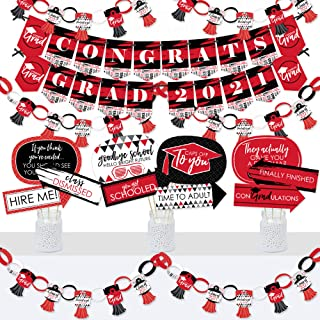 product image for Big Dot of Happiness Red Grad - Best is Yet to Come - Banner and Photo Booth Decorations - 2021 Red Graduation Party Supplies Kit - Doterrific Bundle