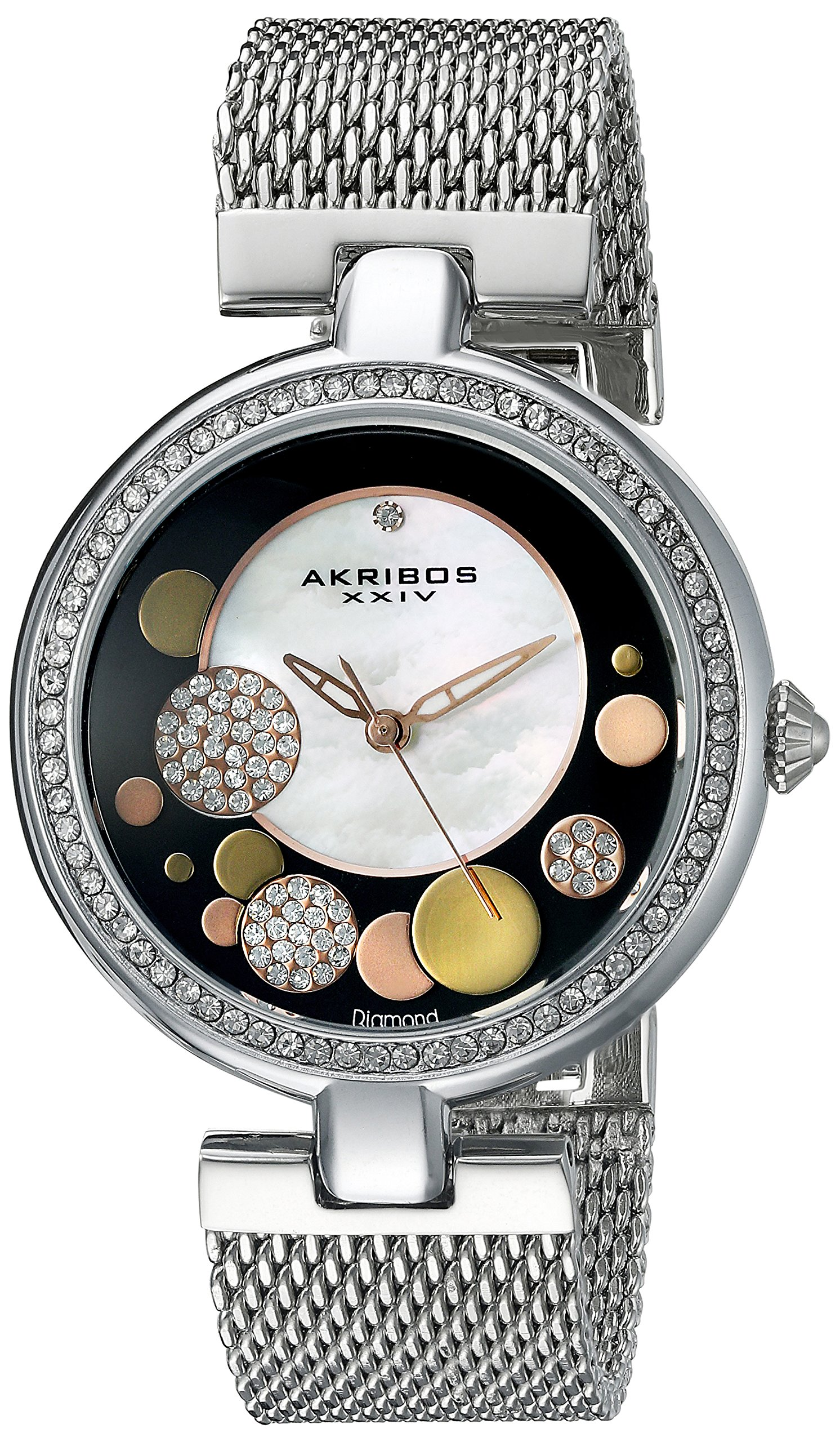 Akribos XXIV Women's AK881 Mother of Pearl Watch with Stainless Steel Mesh Bracelet (Black/Silver)