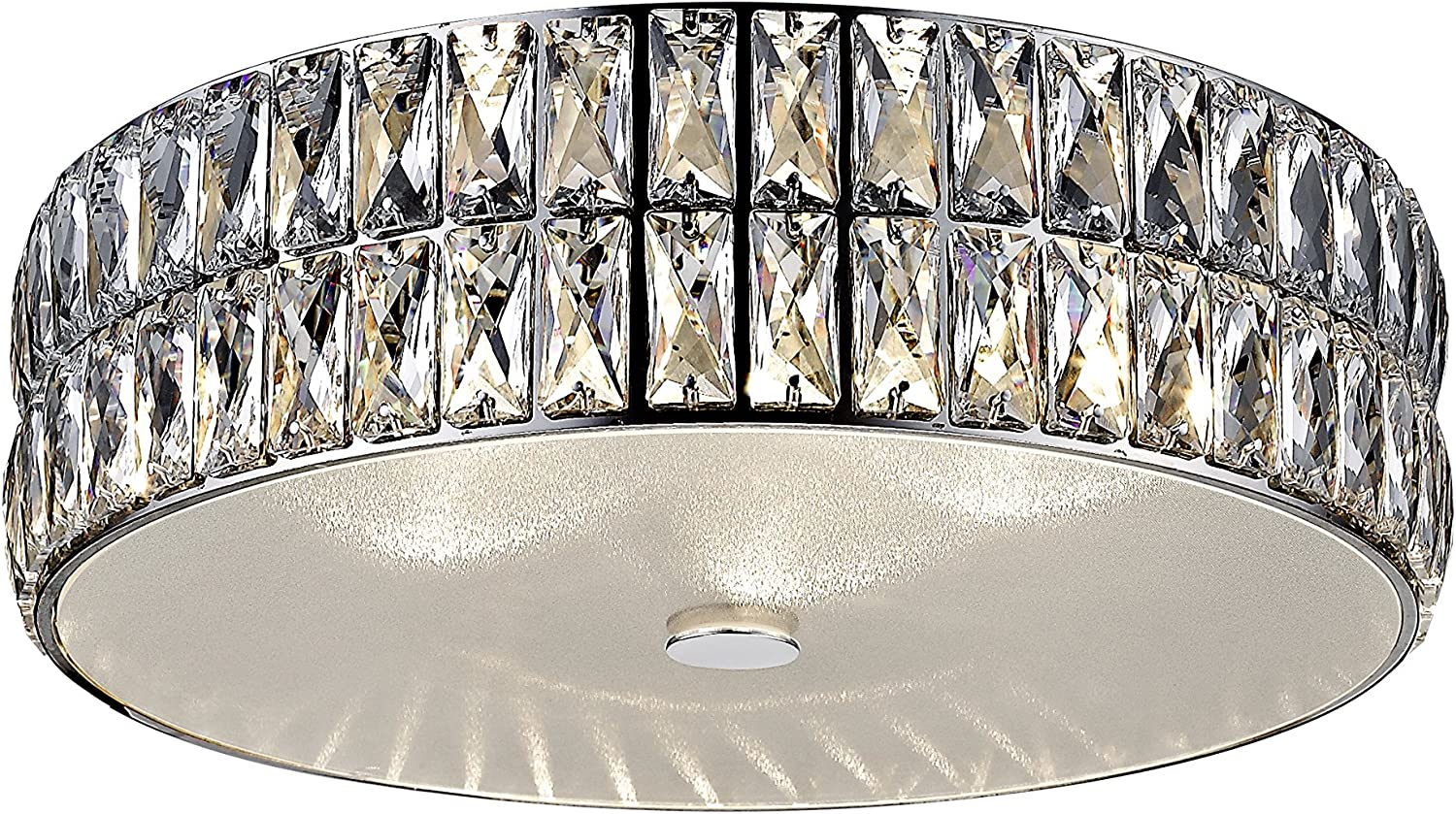 Crystal Glass Diffuser 15D Magari LED Crystal Flush Mount Mirrored Stainless Steel