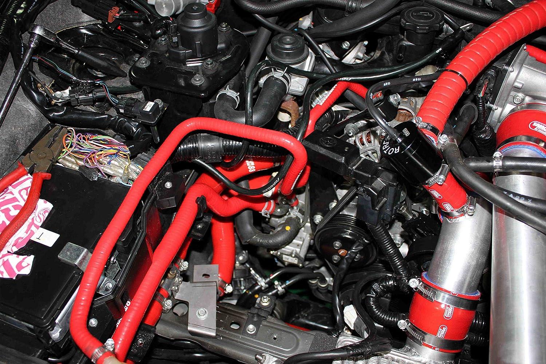 Autobahn88 Motor Verschnaufpause Silikon Schlauch-Kit Schwarz - mit Klammer-Set modell ASHK196-BK-WC
