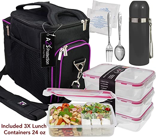 Amazon.com: Set completo de bolsa de almuerzo A2S con 3 ...