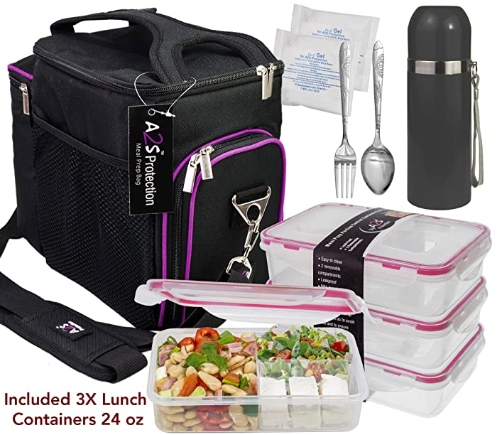 A2S Complete Meal Prep Lunch Box - 8 Pcs Set: Cooler Bag 3x Portion Control Bento Lunch Containers Leakproof 3 Compartments Microwavable BPA Free - Fork & Spoon - Thermos - 2x Ice Gel (Black / Purple)