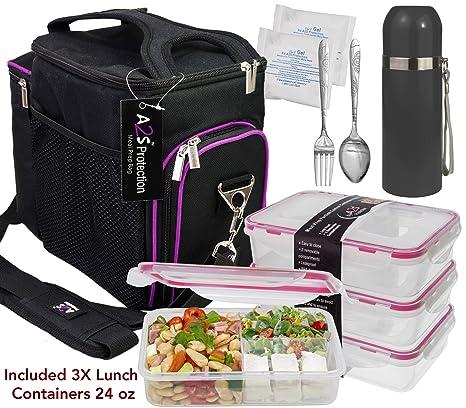 bbdc48053fd5 A2S Complete Meal Prep Lunch Box - 8 Pcs Set  Cooler Bag 3x Portion Control