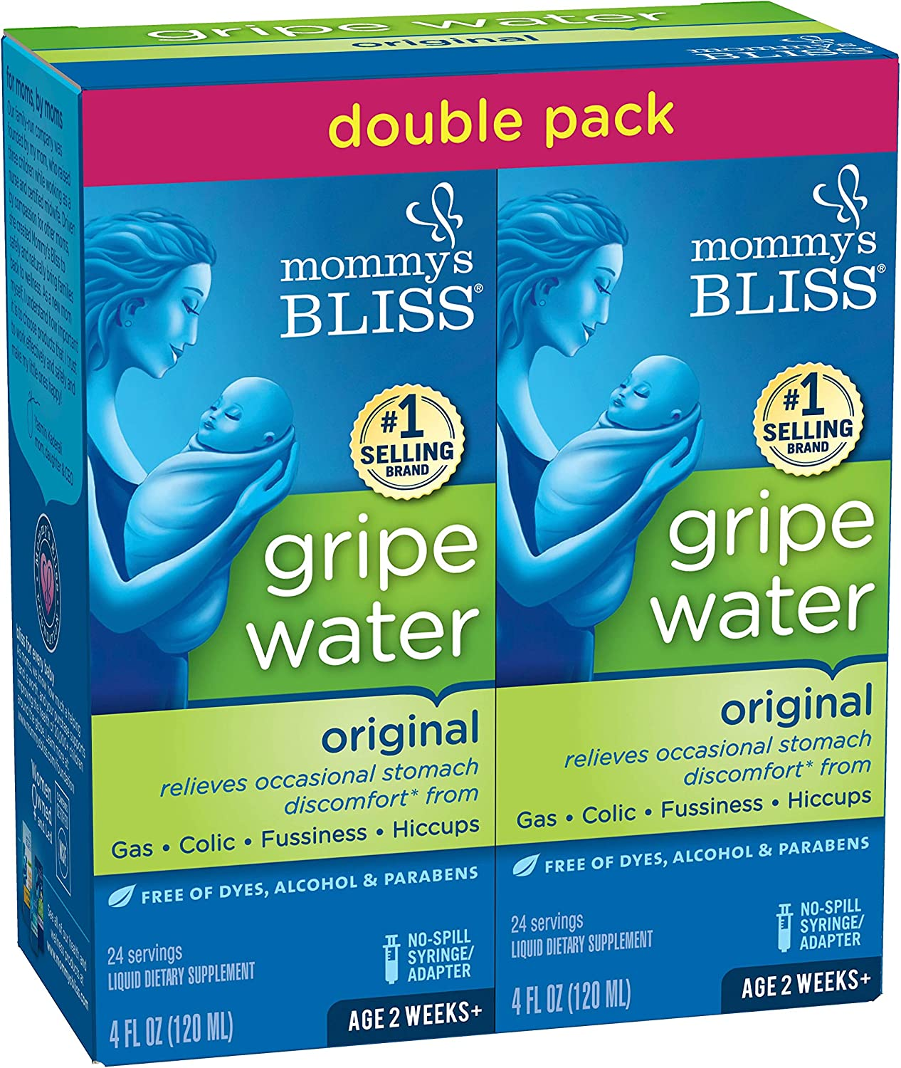 Mommy's Bliss Double Pack Gripe Water for Babies 2 Weeks & Up, Relieves Stomach Discomfort from Gas, Colic, Fussiness & Hiccups, 4 Fl Oz (Pack of 2), 8 Fl Oz