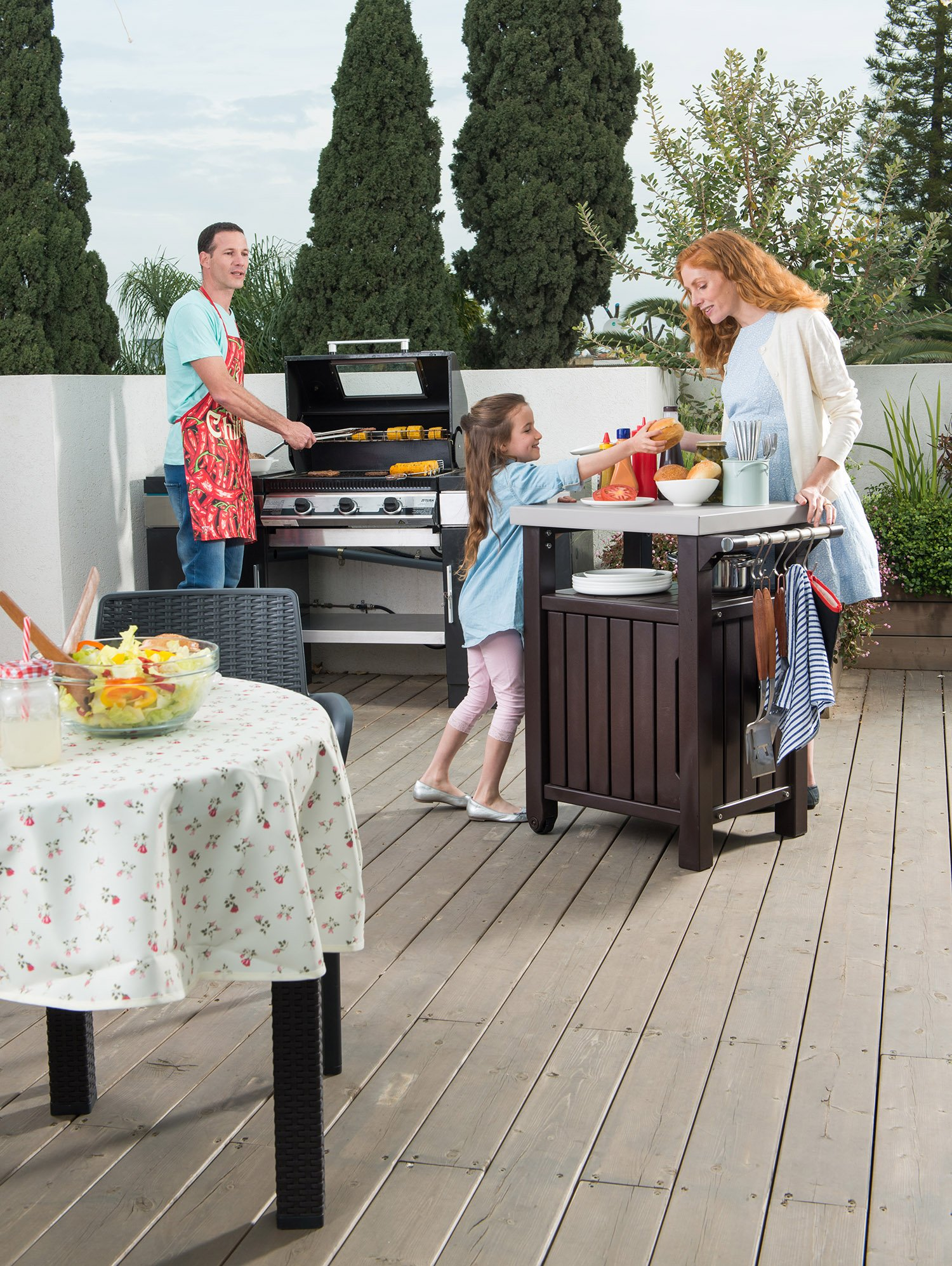 Outdoor Prep Station Serving BBQ Grilling Patio Deck Cabinet Backyard Table by Keter Products (Image #3)