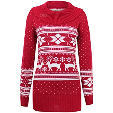 AXTokyo Ladies Womens Long Christmas Jumper Reindeer Classic ...