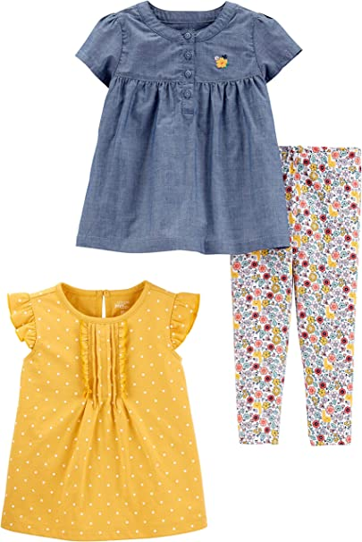 and Pants Playwear Set Simple Joys by Carters Baby Top M/ädchen Infant-and-Toddler-Pants-Clothing-Sets 3-Piece Short-Sleeve Dress