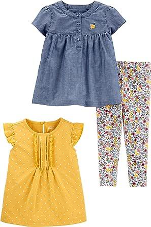 Simple Joys by Carter's Conjunto de Vestido de Manga Corta, Parte Superior y Pantalones Bebé-Niñas, Pack de 3
