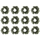 Factory Direct Craft Group of 12 Miniature Artificial Holiday Pine Wreaths (3-1/2 Inch)