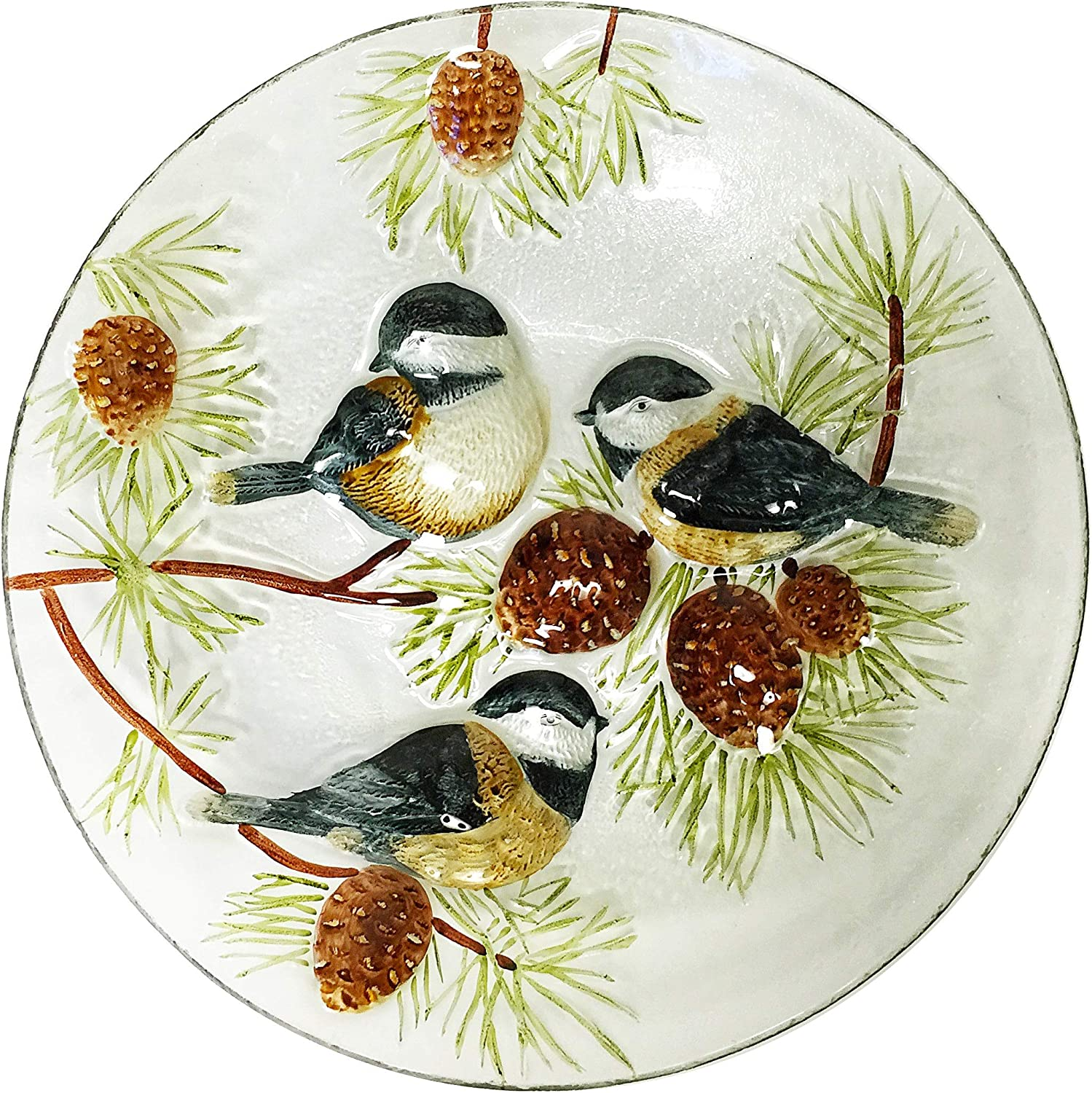 Fountain Continental Art CAC3004280 18 Hand Painted Chickadees and Pinecones Glass Bowl Bird Bath//Feeder Decorative Plate