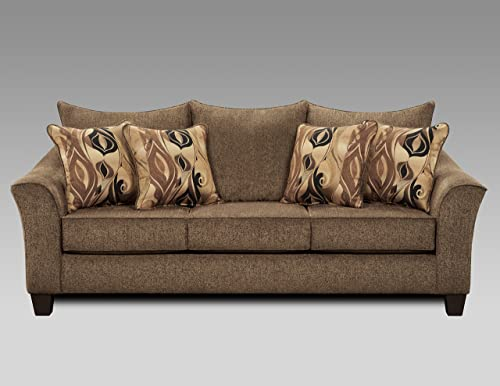 Roundhill Furniture Camero Cafe Fabric Pillow back Sofa