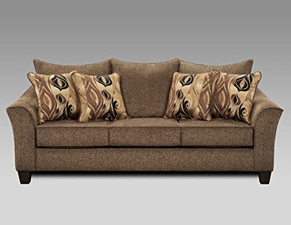 Roundhill Furniture LAF7703CC Camero Cafe Fabric Pillow Back Sofa