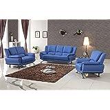 Milano Leather Sofa Set (Blue)