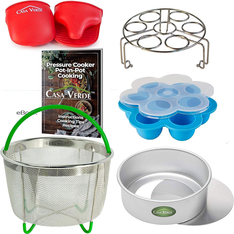 Casa Verde 6 Piece Pressure Cooker Accessories Set Compatible with Instant Pot 6, 8 Qt   Egg Bite Mold, Steamer Basket, Push Pan, Trivet/Egg Rack, Oven Mitts, PIP Recipe Book