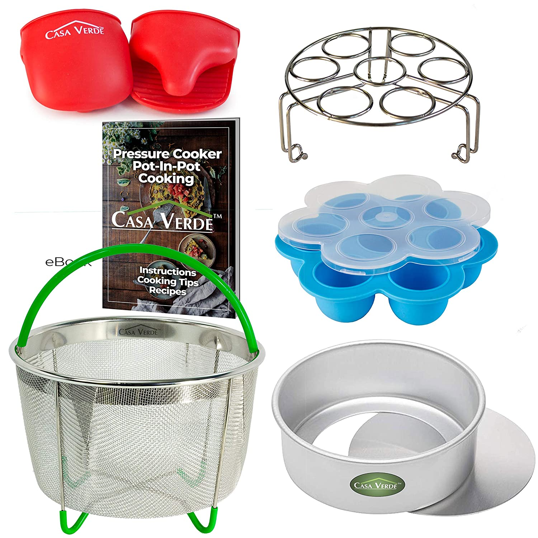 Casa Verde 6 Piece Pressure Cooker Accessories Set Compatible with Instant Pot 6, 8 Qt   Egg Bite Mold, Steamer Basket, Push Pan, Trivet/Egg Steamer, Oven Mitts, PIP Recipe eBook
