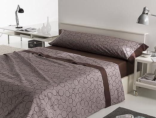 ES-TELA - Juego de sábanas estampadas ARAN color Chocolate (4 piezas) - Cama de 200 cm. - 100% Algodón - 200 Hilos - Medidas: Encimera: 280 x 280 cm; Bajera ajustable: 200 x 200 + 28 cm; Funda de almohada: 2 - 45 x 110 cm.: Amazon.es: Hogar