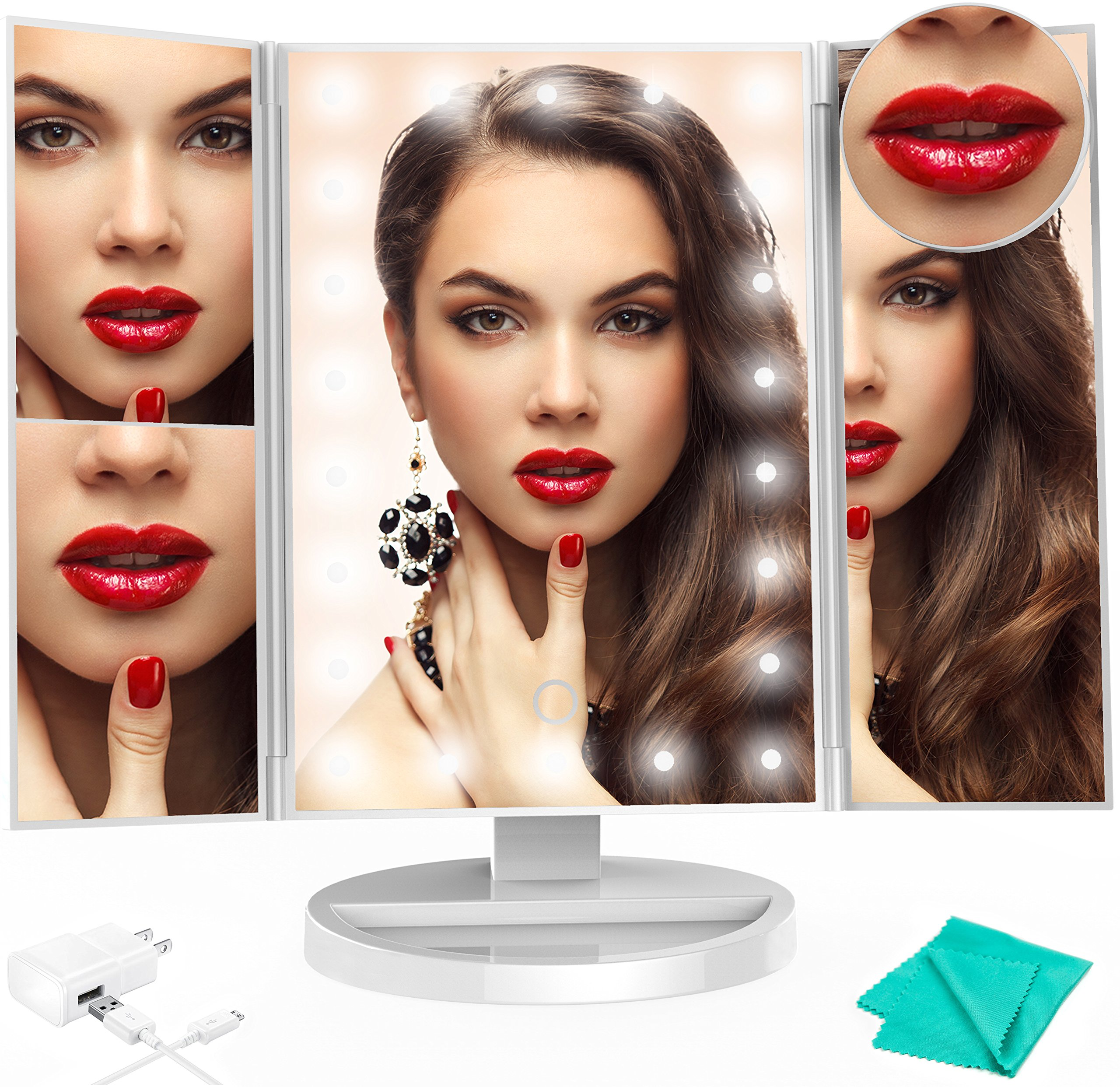 Premium Lighted Makeup Vanity Mirror Exclusive For Women Girls Men 22 LED Lights 2x/3x Magnifying Stand Trifold LED Mirror 10x Table Cosmetic Compact Portable Travel Best Mirror White Set Black Box