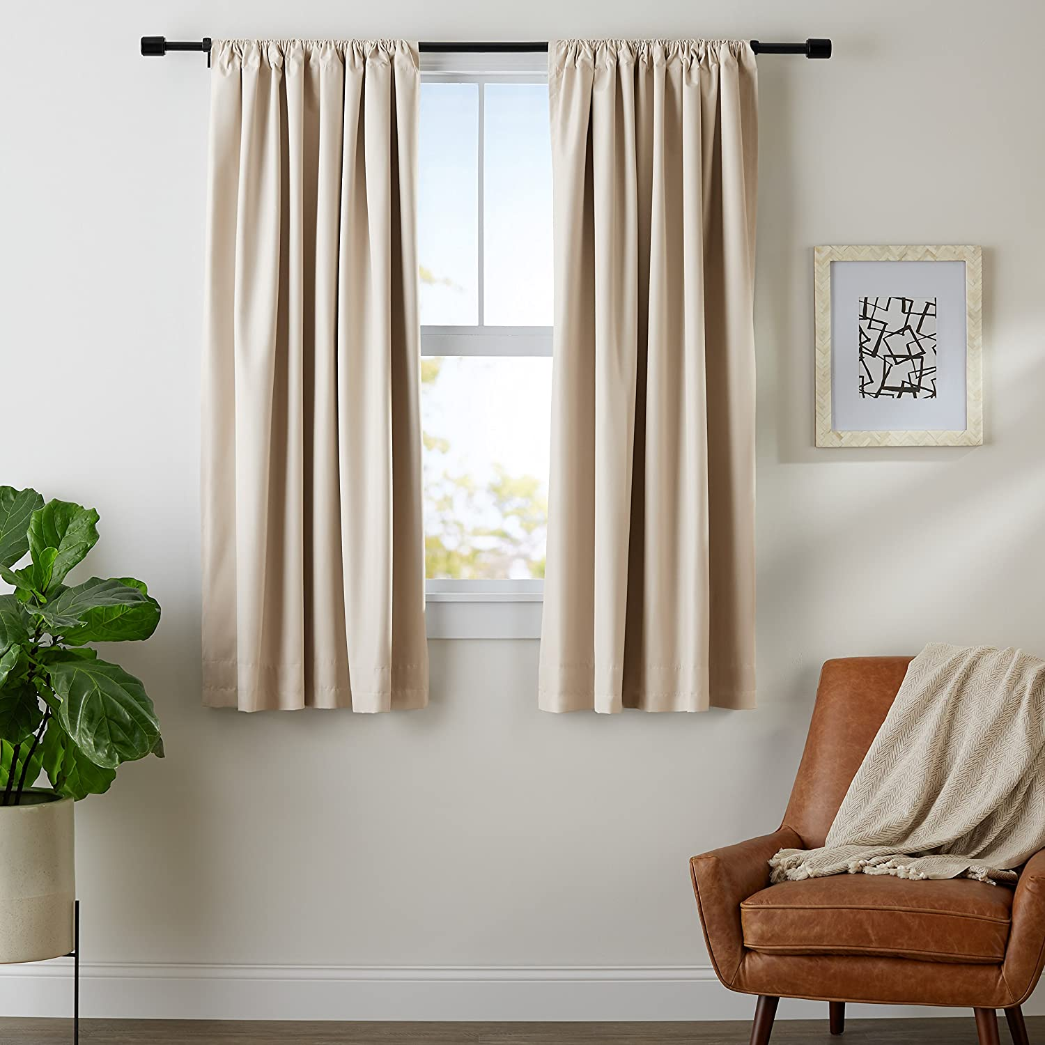 "AmazonBasics Blackout Curtain Set - 52"" x 63"", Grey-Beige, 4-Pack"